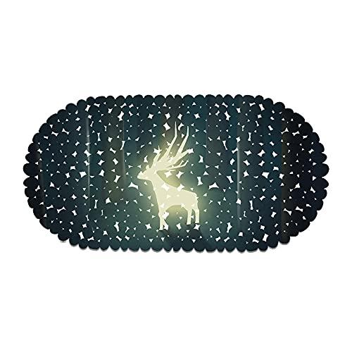 Alfombrilla De Ducha Antideslizante,Impresión 3D Anti Slip Pvc Alfombra De Bañera Para Niños, Patrón Luminoso De Alces Ventosas Colchonetas De Baño, Anti-Hongos Y Estera Ovalada Duradera, Para B
