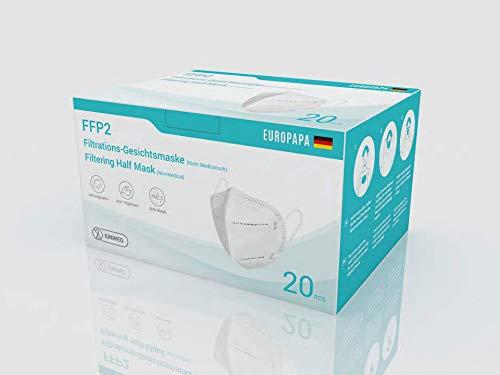 20er-Pack FFP2 / KN95 CE zertifizierte und DEKRA geprüfte 5-Lagen-Mundschutzmaske von EUROPAPA