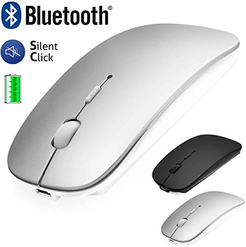 Bluetooth Mouse for Laptop/iPad/iPhone/Mac(iOS13.1.2 and above) / Android PC/Computer, Rechargeable Noiseless Mini Wireless Mouse for Windows/Linux/Mac, 3 DPI +4.0 + 2.4G Silver/Black Silver
