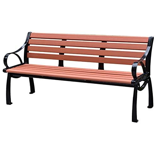 Utomhus terrass bänk trädgård guld gjutjärn bänk, All-weather återvunnen plast klassisk parkbänk, Veranda arbetskanal är dekorerad med platser för 2 personer, Kan stödja 400 kg