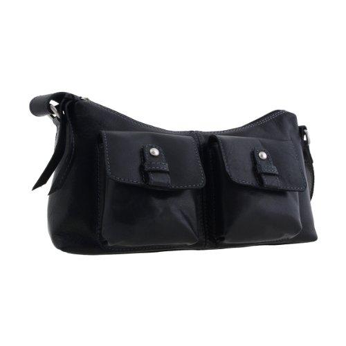 Shalimar Kleine Damenhandtasche Lederbeutel aus Büffelleder Schwarz, Farbe:Schwarz
