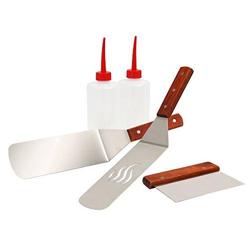 BBQ-Toro 5-teiliges Edelstahl Grill Plancha Zubehör Set | Plancha Grill Zubehör Set mit Pfannenwender, Spachtel, Spritzflaschen | Teppanyaki Grill Werkzeug