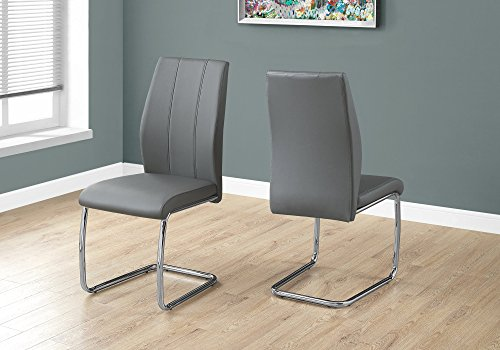 Monarch Specialties 2 Piece DINING CHAIR-2PCS/ 39' H/GREY LEATHER-LOOK/CHROME, 17.25' L x 20.25' D x 38.75' H