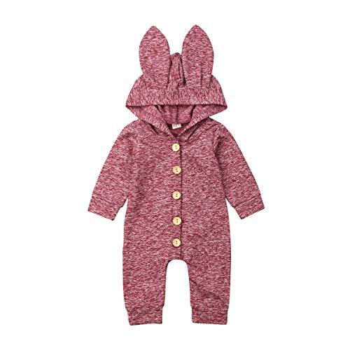 Conjunto de ropa de manga larga para bebé y niña con capucha, orejas de conejo, de forro polar, para otoño e invierno - rojo - 6-12 meses