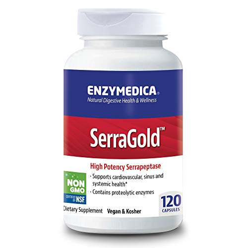 Enzymedica, SerraGold, Enzyme Supplement to Support Cardiovascular, Sinus and Immune Health, Includes Serrapeptase, Vegan, 120 Capsules (120 Servings) (FFP)