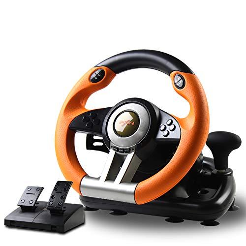 Juego Volante de Carreras, PXN-V3II 180 ° Competition Racing Volante con puerto USB universal y con pedal, adecuado para PC, PS3, PS4, Xbox One, Nintendo Switch.