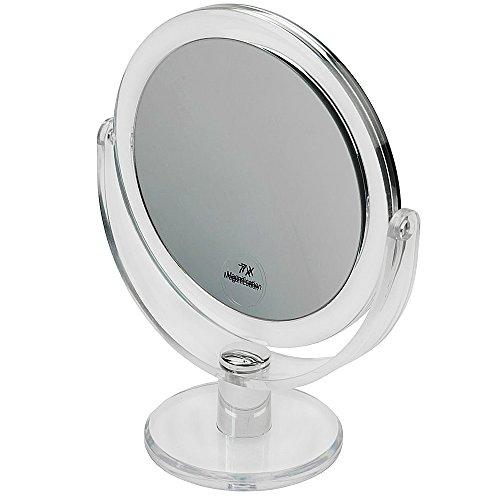 Kosmetex Standspiegel mit 7-fach Vergrößerung, Acrylglas, 2 Spiegelflächen, Kosmetik-Spiegel