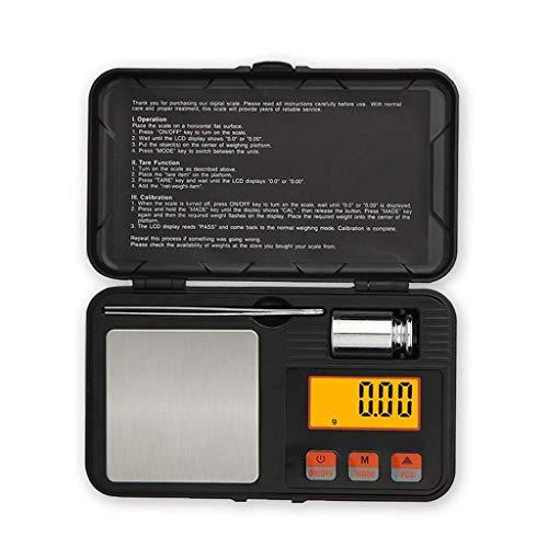 Báscula electrónica de alta precisión, portátil, mini báscula de joyería, caja de herramientas negra con pantalla LCD, 6 unidades, báscula digital para escala de palma con gemas doradas (tamaño: 500