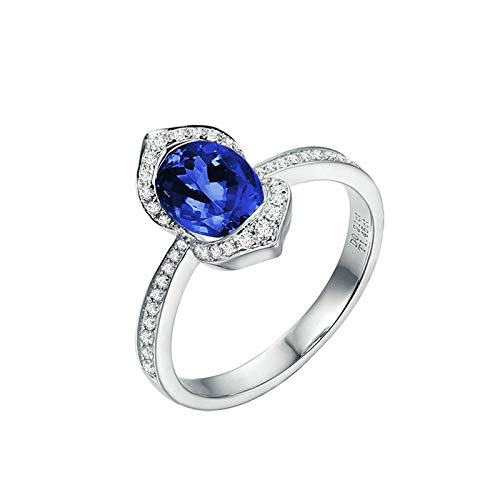 AmDxD oro blanco 18 quilates (750) cushion-cut Blue White Tanzanite