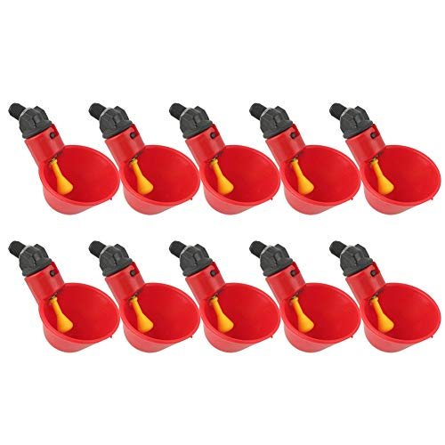 ViaGasaFamido Chicken Drinkers Waterers,10Pcs Automatic Poultry Watering Drinking Dispenser Cups Drinking Dispenser Red Plastic Bowls Backyards Flock Duck Bird Water Feeder for Pigeons
