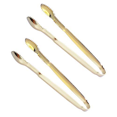 BESTONZON Servierzange Edelstahl Mini Küchenzangen Lebensmittelzange Salatzangen Mehrzweckzange 2 Stück (Golden)