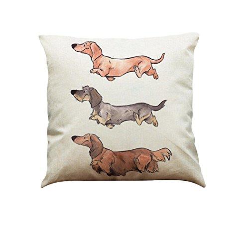 LONUPAZZ Vintage Dog Sofa Throw Pillow Case Cushion Cover Linen Cotton Home Car Decor, Cotton, i, 45_x_45_cm