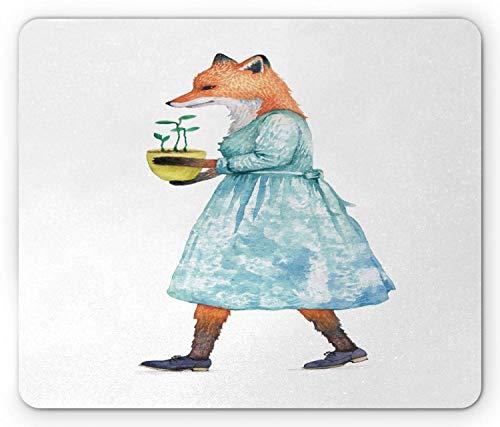 Muismat, cartoon, aquarelle Lady Fox, in een jurk, bloempot, muismat van antislip rubber, rechthoekig