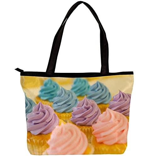 LORVIES - Bolso bandolera para mujer, color crema de cupcakes rosa y azul