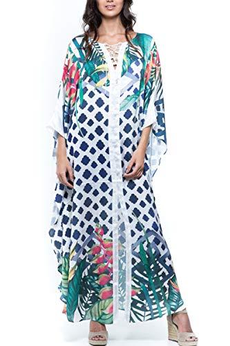 LikeJump Vestido Bohemia de Playa Kaftan Kimono Pareos Cover Ups para Mujer
