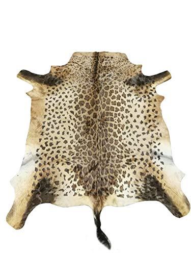 Zerimar Alfombra Piel de Antílope Africano Natural Premium | Medidas: 140x125 cms | Estampada imitación Leopardo | Alfombra Salón | Alfombra Salón Grandes | Alfombras de Pelo