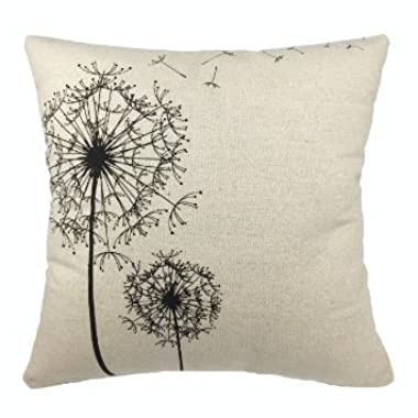 Luxbon Morden Stylish Simplicity Dandelion Floral  As You Wish  Cotton Linen Sofa Couch Chair Throw Pillowcase Cushion Cover Decorative Insert Not Included
