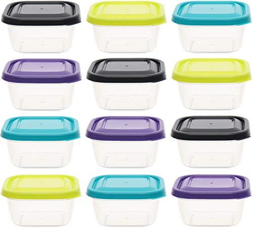 idea-station contenitori per Alimenti 12 Pezzi, 300 ml, Colorati, Copertura, Contenitore plastica, Barattolo plastico, Scatola, vaschette, Porta Pranzo, Box plastica, Lunch Box