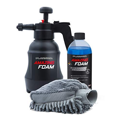 Mediashop Platinum Amazing Foam – Autoreiniger und Autopflege – entfernt hartnäckigen Schmutz und sorgt für Glanz – auch als Cockpit Reiniger – für alle Oberflächen