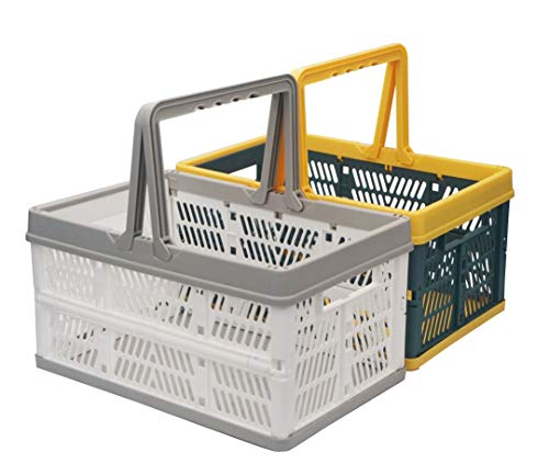 Cheapest Prices! Hotpper Folding Shopping Basket Collapsible Picnic Basket Storage Basket,2 Pack