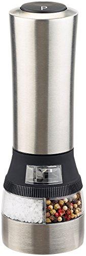 Rosenstein & Söhne Salzmühle elektrisch: Elektrische 2in1-Salz-und Pfeffermühle, 2 Keramik-Mahlwerke, 22 cm (Chilimühle)