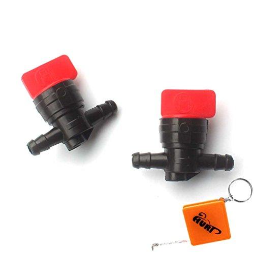 HURI 2x Benzinhahn Kraftstoff- Zwischenhahn Kunststoff E/A 6,35mm Ersetzt für B&S Briggs & Stratton 698183, 494768, 493960, 491860, Wolf 2058063, 2059063