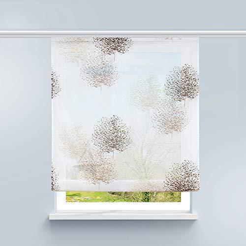 HongYa Raffrollo Voile Gardine Transparente Raffgardine mit Klettschiene Küche Vorhang Kleinfenster H/B 140/100 cm Baum Muster