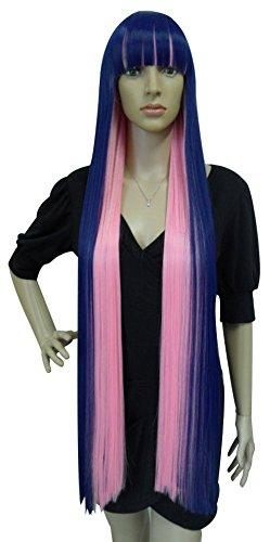 ANOGOL Long Straight Wig Girl Braided Wig Cosdplay Wg for Women (Dark Blue with Rose)