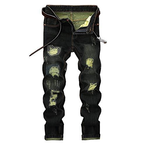 Beastle Jeans para Hombres Pantalones Vaqueros de Pierna Recta Rasgados Europeos y Americanos de Moda para Hombres Pantalones Vaqueros Casuales con Personalidad Retro y Antigua 32