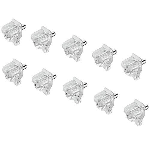 50 Stück - GedoTec vigas de vidrio 3 mm doblez inferior portador Soporte suelo para estantería Modelo META Acero / Plástico transparente estante madera y Cristal Calidad marca su Sala estar - 50 Stück