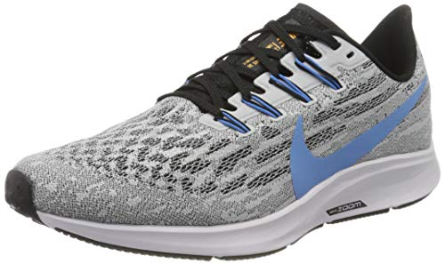 Nike Mens Air Zoom Pegasus 36 Running Shoe, White/University Blue-Black, 42.5 EU