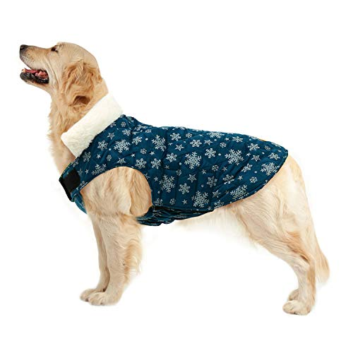 Kuoser Christmas Snowflake Cold Weather Dog Coat for Winter Reflective Reversible Dog Warm Fleece Jacket Waterproof Windproof Dog Vest with Furry Collar for Small Medium Large Dogs Green L