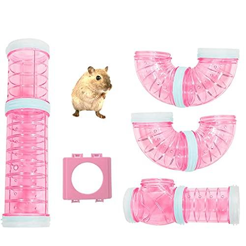 YUEMA Kit de tubos y túnel para hámsters con 2 placas de conexión, juguete de adventura para hámsters, ratas, chinchillas, jaula y accesorios para ampliar espacio (rosa)