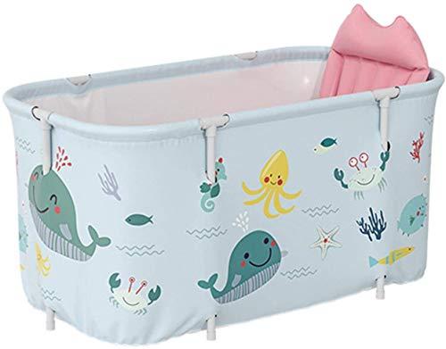 Bañera portátil plegable en plástico, bañera de tamaño extragrande, para adultos y niños, 120cm, color azul