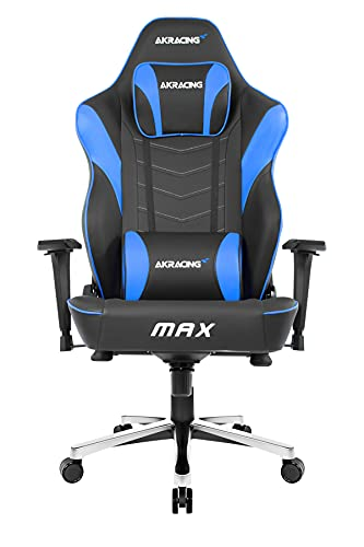 AKRacing Masters Series Max Gaming Chair with Wide Flat Seat, 400 Lbs Weight Limit, Rocker and Seat Height Adjustment Mechanisms - Black/Blue