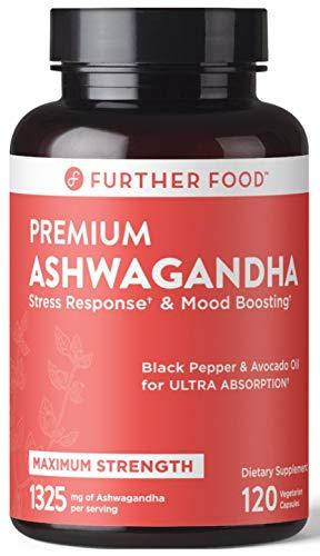 Premium Organic Ashwagandha Capsule for Stress Relief, 1325mg Ashwagandha Root & Black Pepper, Thyroid Support Cortisol + Adrenal Support Mood Boost Reduce Fatigue, 120 Vegan Caps