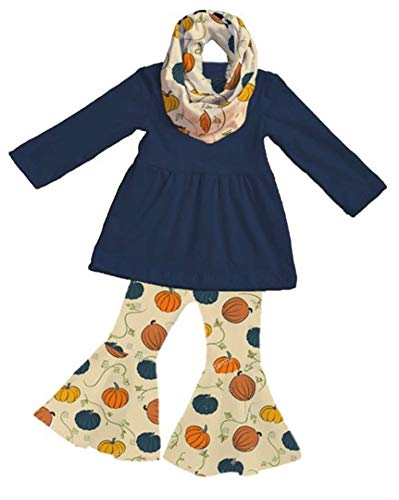 Unique Baby Girls Fall Pumpkin Vines Leggings Bell Bottom Scarf 3pc Outfit (8) Blue