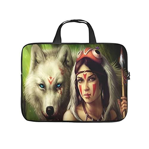 Native American Wolf - Bolsa para ordenador portátil, diseño de lobo con asa portátil, color blanco 17 pulgadas