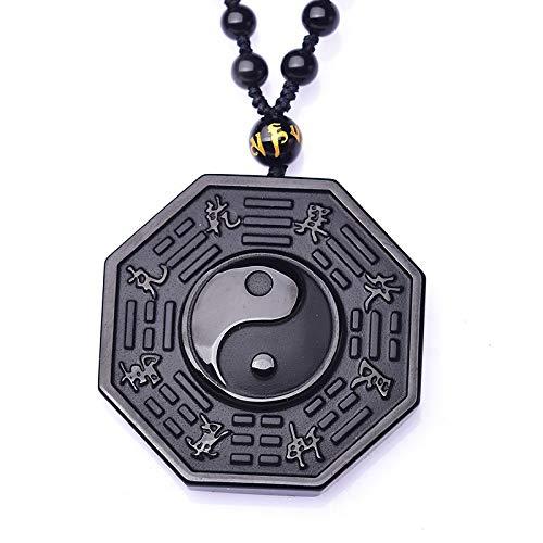 Bagua spegel Svart obsidian yin och yang kinesiska skvallrar halsband för kvinnor Kinesiska Feng Shui-speglar