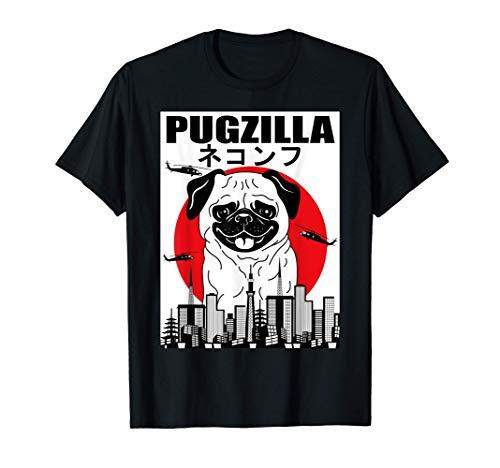Funny Pugzilla Japanese Sunset Pug Lover Vintage Outfit Camiseta