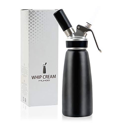 MUHOO Sahnespender 500 ml für Schlagsahne Cremes Soßen, Sahnebereiter aus Aluminium Spülmaschinenfest mit Tüllen und Reinigungsbürste
