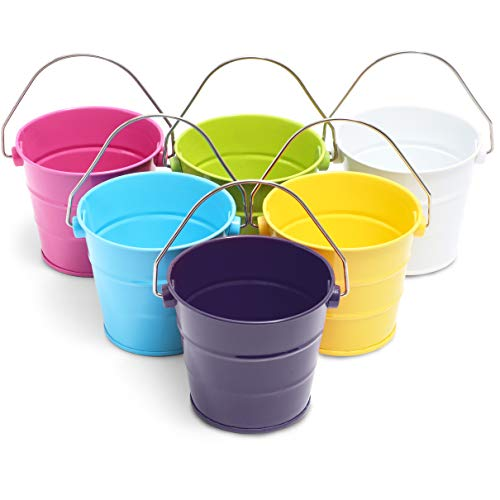 Mini Metal Buckets, Pails with Handles for Beach, Party Favors, Easter (6-Pack)