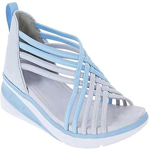 Damen Casual Sommer Offene Zehen Sandalen Geflochten Fisch Mund Schuhe Fersen- und Fußschmerzen Linderung Bequem Gehen (35,Blau)