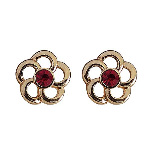 CHENYUXIA Pendientes de rubí con Incrustaciones de Amor Vintage, una Sola Flor, Hermosos aretes, Lindos aretes pequeños
