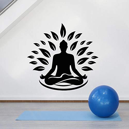 WERWN Zen Lotus Pose Tatuajes de Pared Estudio de Yoga Gimnasio Sala de meditación decoración de Interiores Hojas Puertas y Ventanas Pegatinas de Vinilo Papel Tapiz Arte