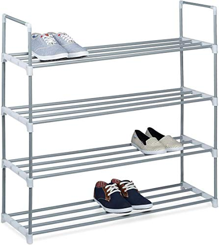 A-Generic Zapatero Metal, Zapatos de estantería, Estante, 2 Camas, metálico, 8 Pares, 1 UD, 45 x 90 x 30cm, plata-93 x 90 x 30 cm