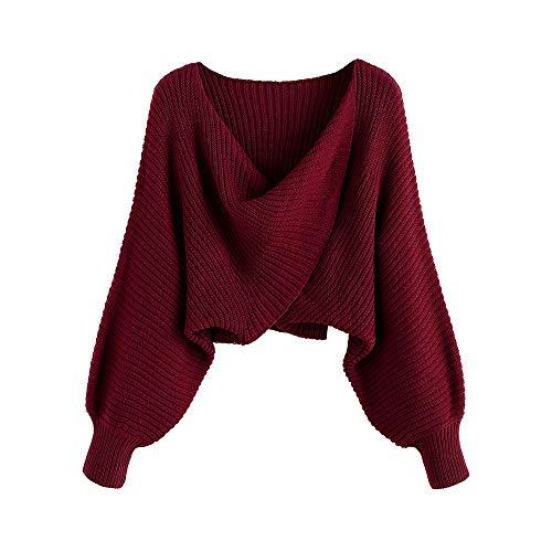 ZAFUL Dame kurzer Pullover, geflochtener Sweater, fallend Schulter Oberteil mit tiefem V-Ausschnitt & verdrehte Falten