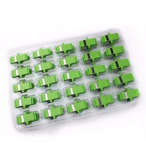 XAOBNIU Conector de Fibra Adaptador 50pcs SC APC Fibra óptica monomodo Simplex SC APC óptica del atenuador SC Fibra Brida (Color : Green)