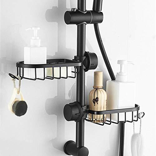 étagère de salle de bain douche noire panier de rangement étagère de rangement réglable robinet étagère de drainage cuisine étagère de rangement divers-black2