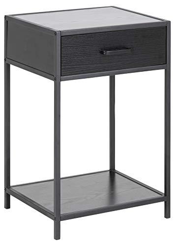 AC Design Furniture Jörn Bedside Table, Wood, Black, 63 x 42 x 35 cm